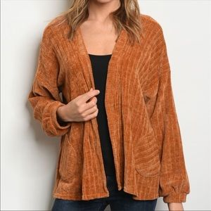 Sweaters - New arrival! Camel High Low Chenille Cardigan